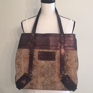Burberry Python Print Fabric and Leather Trim Tote